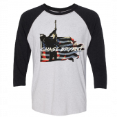 Chase Bryant Heather White and Vintage Black Raglan Tee